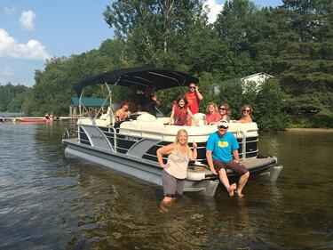 new pontoon boat from len's cove